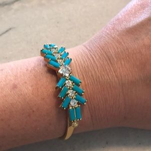NWOT gold cuff with blue stones